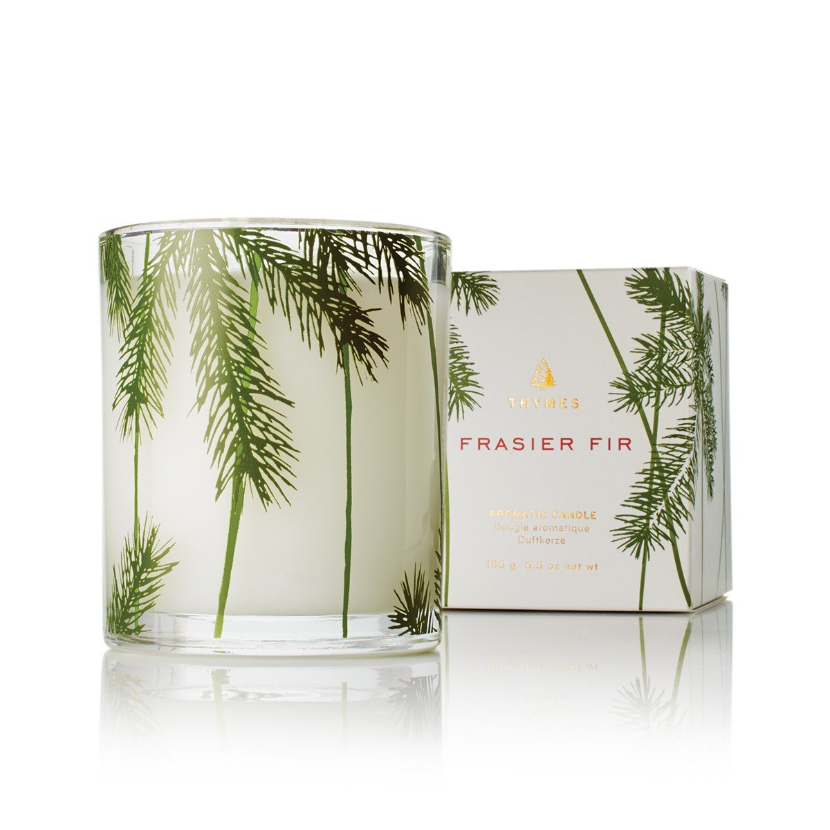 Thymes - Frasier Fir Pine Needle Decorative Glass Jar Candle with 50-Hour Burn Time - 6.5 Ounces by Thymes