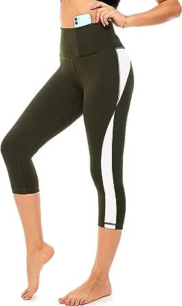 DEAR SPARKLE High Waist Yoga Pants for Women Workout Capri Leggings with Pockets Slim Legging Plus Size (Z5C)