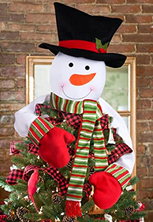Funny Christmas Tree Toppers.Luck Sea Christmas Tree Topper Snowman Hugger Xmas Holiday Winter Wonderland Party Decoration Ornament Supplies
