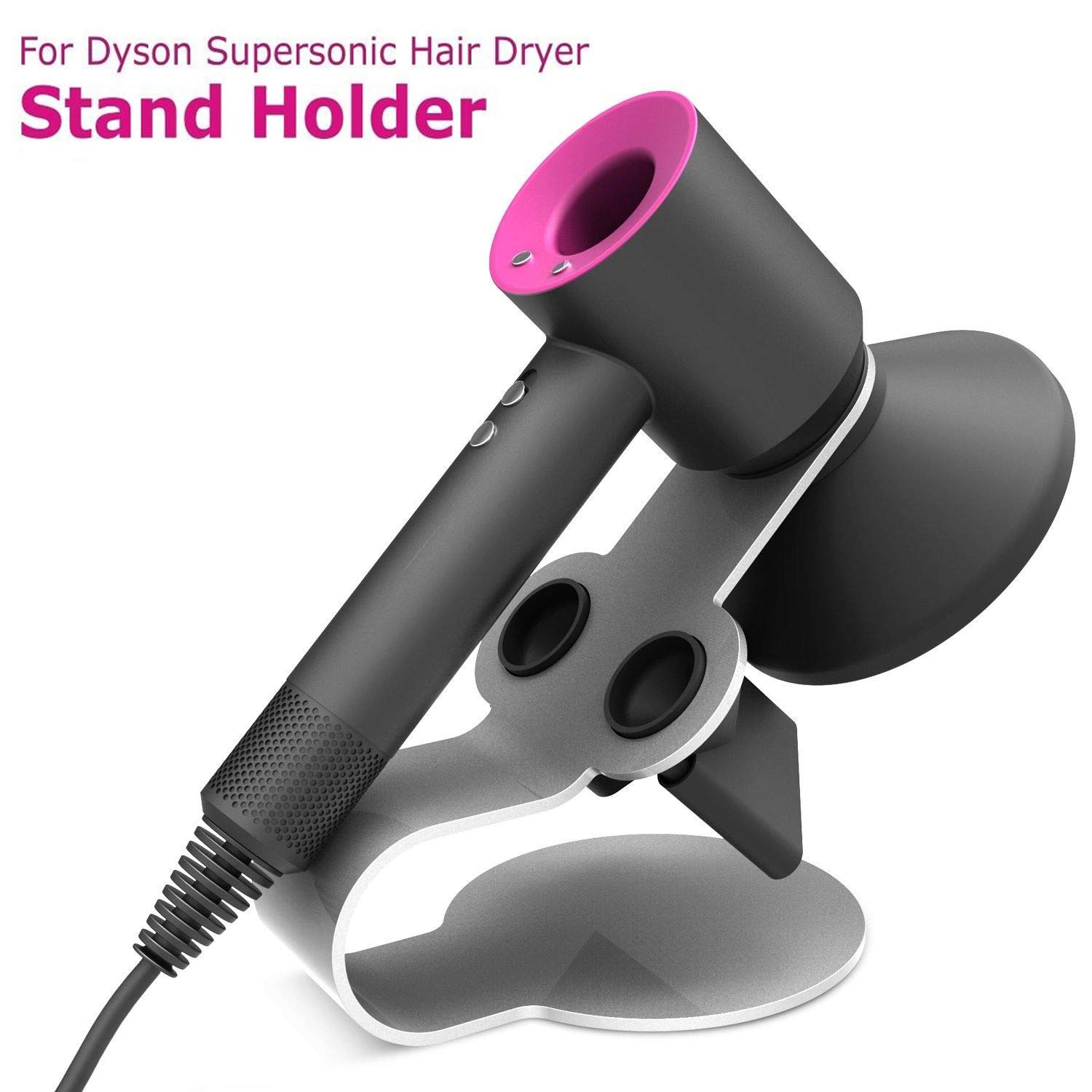 Premium Stand Holder for Dyson Hairdryer, Sensico Magnetic Aluminum Alloy Bracket Dock Station Accessory Organizer for Dyson Supersonic Hairdryer, Diffuser and Two Nozzles Stand