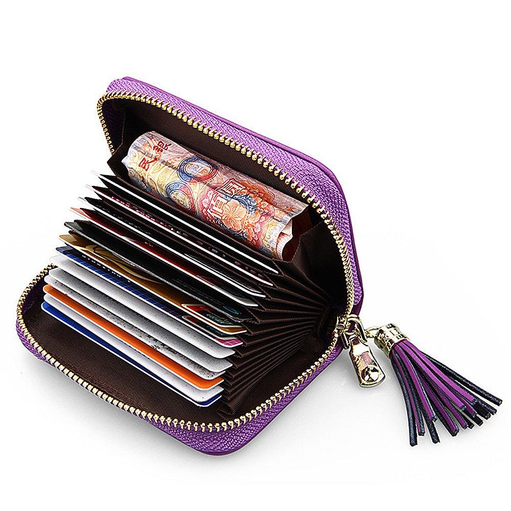 16bdaab8d58b Artemis'Iris Women RFID Blocking Small Wallet Plaid Genuine Leather ...