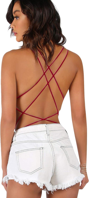 Verdusa Womens Sleeveless Scoop Neck Strappy Backless Bodysuit