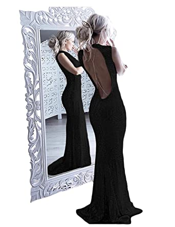 647211a463db DarlingU Women s Formal Mermaid Round Neck Prom Evening Party Gowns Sequined  Party Gowns Black 2