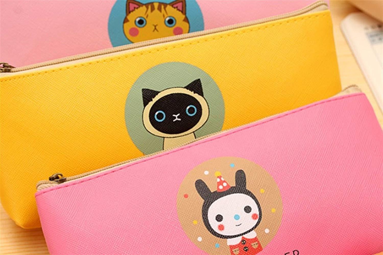 HUAIX Home Schreibwaren Supplies Federmäppchen Karton Stil Katze Muster Aufbewahrungstasche Aufbewahrungstasche Aufbewahrungstasche Federmäppchen Bleistiftbeutel (zufällige Farbe) 7de845
