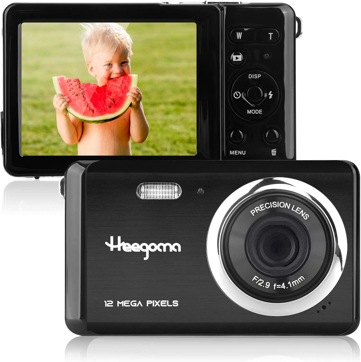 Kids Digital Camera, Heegomn 2.8 inch LCD 12MP Compact Digital Camera for Boys and Girls Gift, Portable Point and Shoot Digital Camera with 8X Digital Zoom and Rechargeable Battery