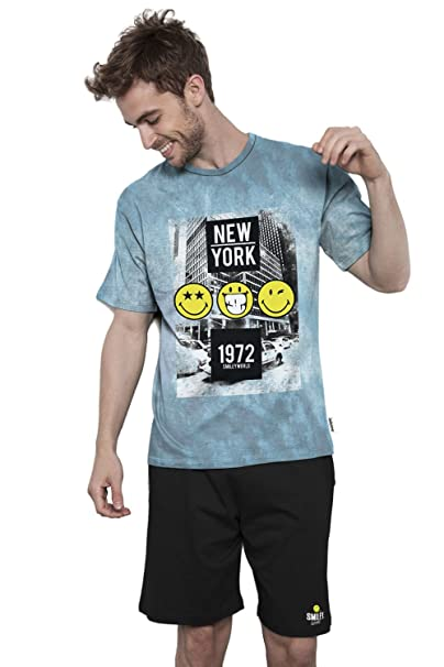 Pijama Manga Corta Hombre Smiley New York, Color Azul, Talla Xxl