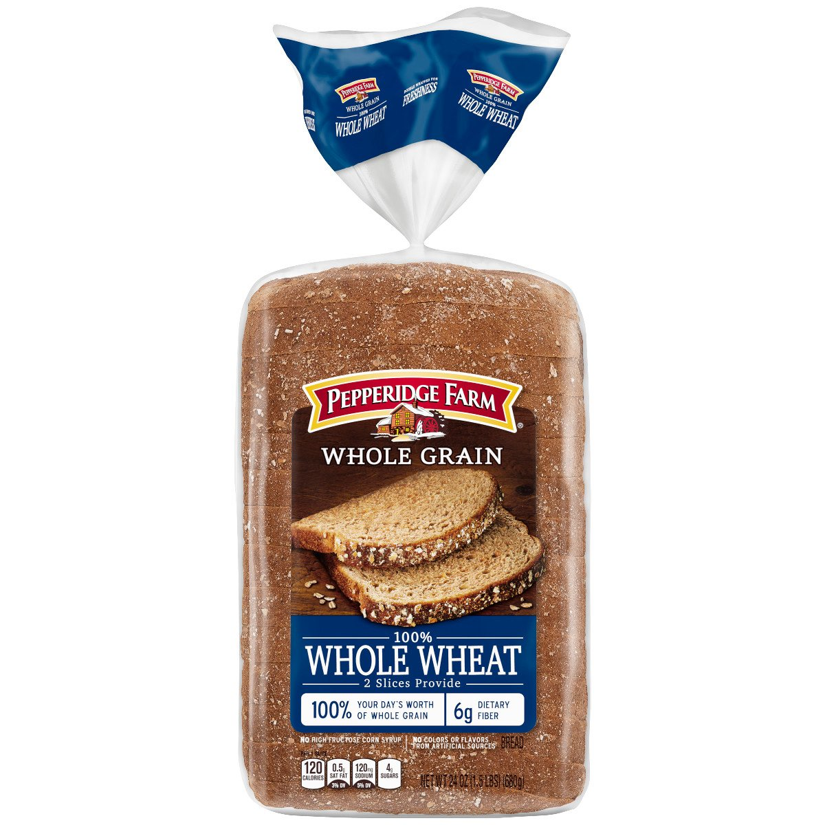 Pepperidge Farm Whole Grain 100% Whole Wheat Bread, 24 oz. Bag: Amazon.com:  Grocery & Gourmet Food