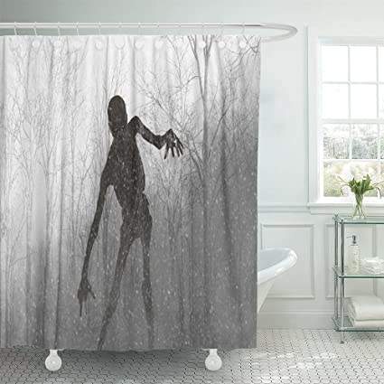 Emvency Shower Curtain Polyester 66x72 Inches Demon 3D Of Scary Monster Out From The Wood Fog
