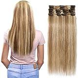 Extension a Clip Cheveux Naturel 40cm [8 Bandes à 18 Clips] 100% Remy Hair Glisse & Silky [40cm - 12P613#Brun doré & Blond Blanchi]