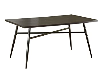 Target Marketing Systems Windsor Mixed Media Dining Table With Powder Coated Metal Legs Espresso Black