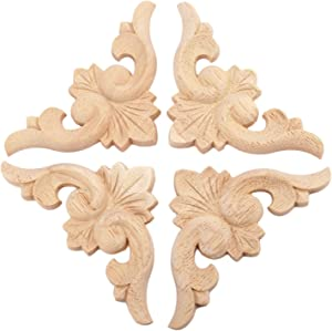 4pcs 8x8cm European Style Wood Carved Corner Onlay Applique Furniture Unpainted Door Decor