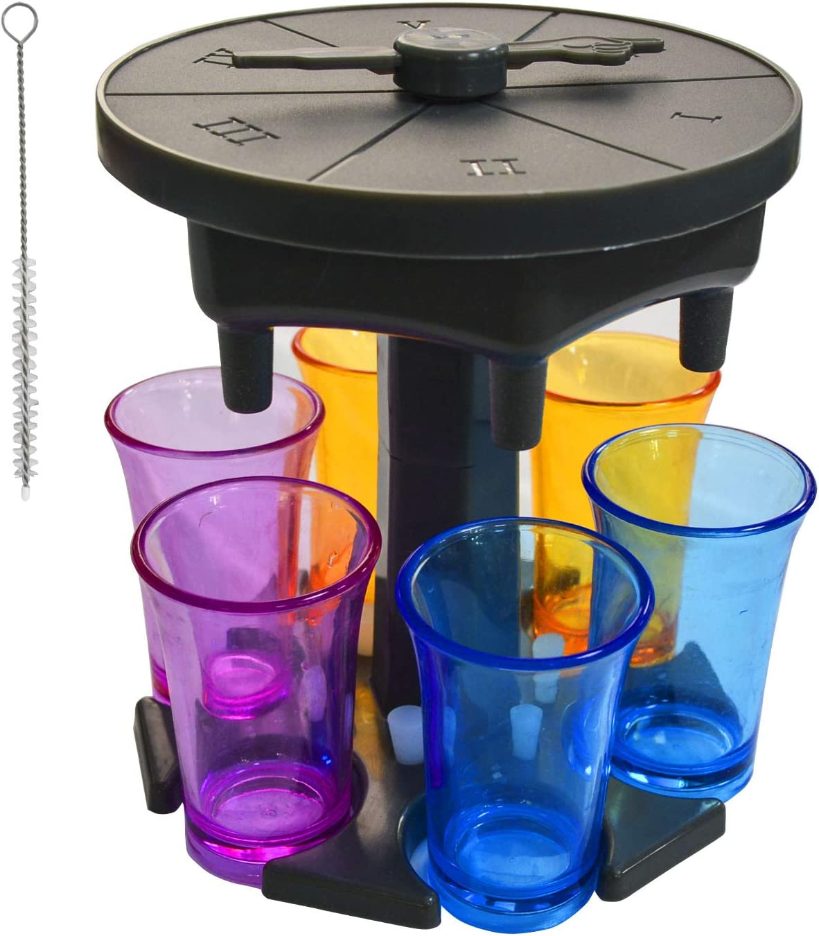 6 Shot Glass Dispenser and Holder with Game Turntable, Drink Dispenser Carrier Liquor Dispenser Wine Beverage Drinking Game for Bar Cocktail Party with 6 Plugs and 1 Cleaning Brush(Gray)