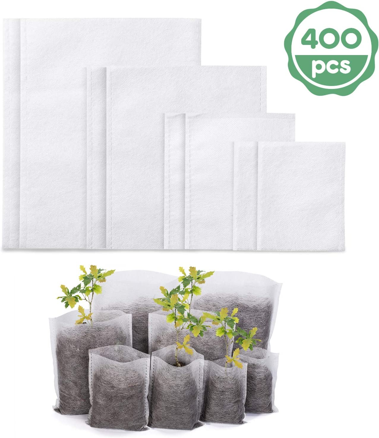 Delxo 400Pcs 4 Size Biodegradable Non-Woven Nursery Bags Plant Grow Bags Fabric Seedling Bags Home Garden Supply