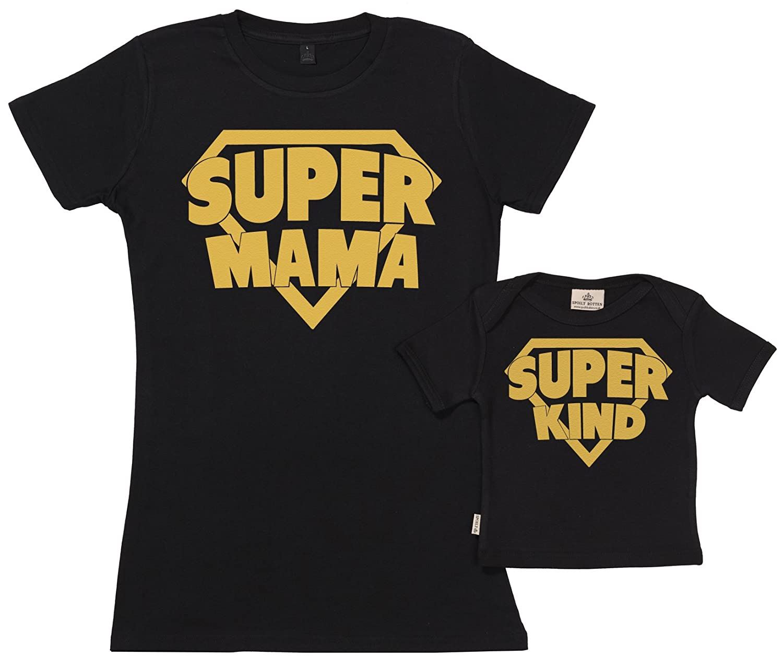 Mutter Baby Geschenkset in Geschenkbox SR Super Mama /& Super Kind Set zur Geburt Mutter T-Shirt und Baby T-Shirt in Geschenkbox Geschenkpackung Baby Geschenkset
