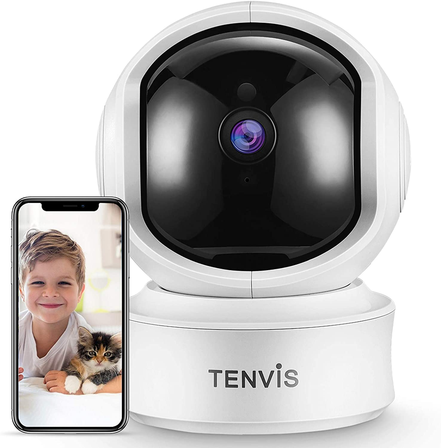 TENVIS 2K 3MP Indoor Security Camera - Dog Camera with Phone App, Sound/AI Motion Detection & Auto Tracking, Pan/Tilt WiFi IP Camera, 2-Way Audio, Night Vision, Works with Alexa, Baby/Nanny/Pet Camera