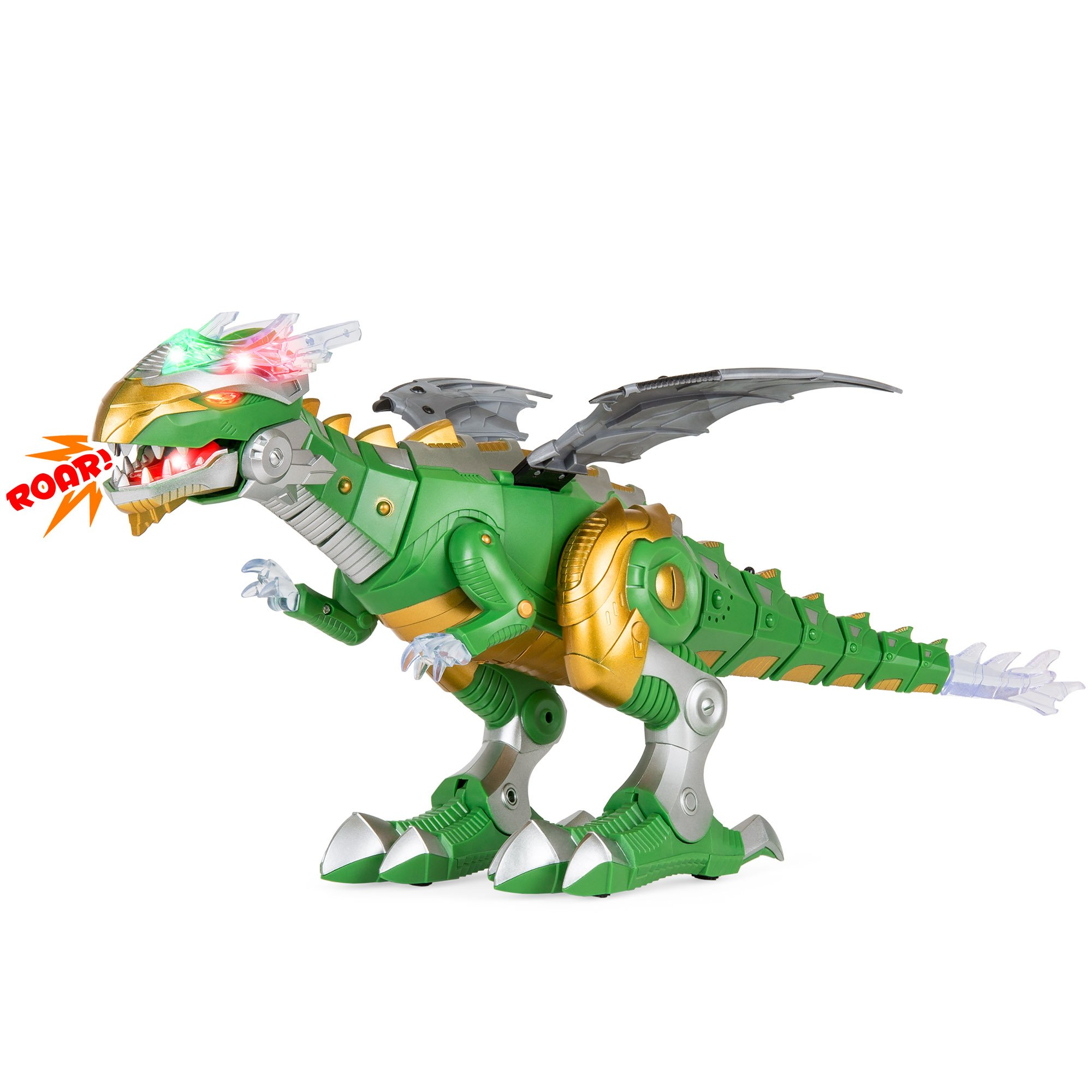 Best Choice Products Kids Walking Dragon Dinosaur Robot Toy w/ Lights, Moving Wings, Sound - Green