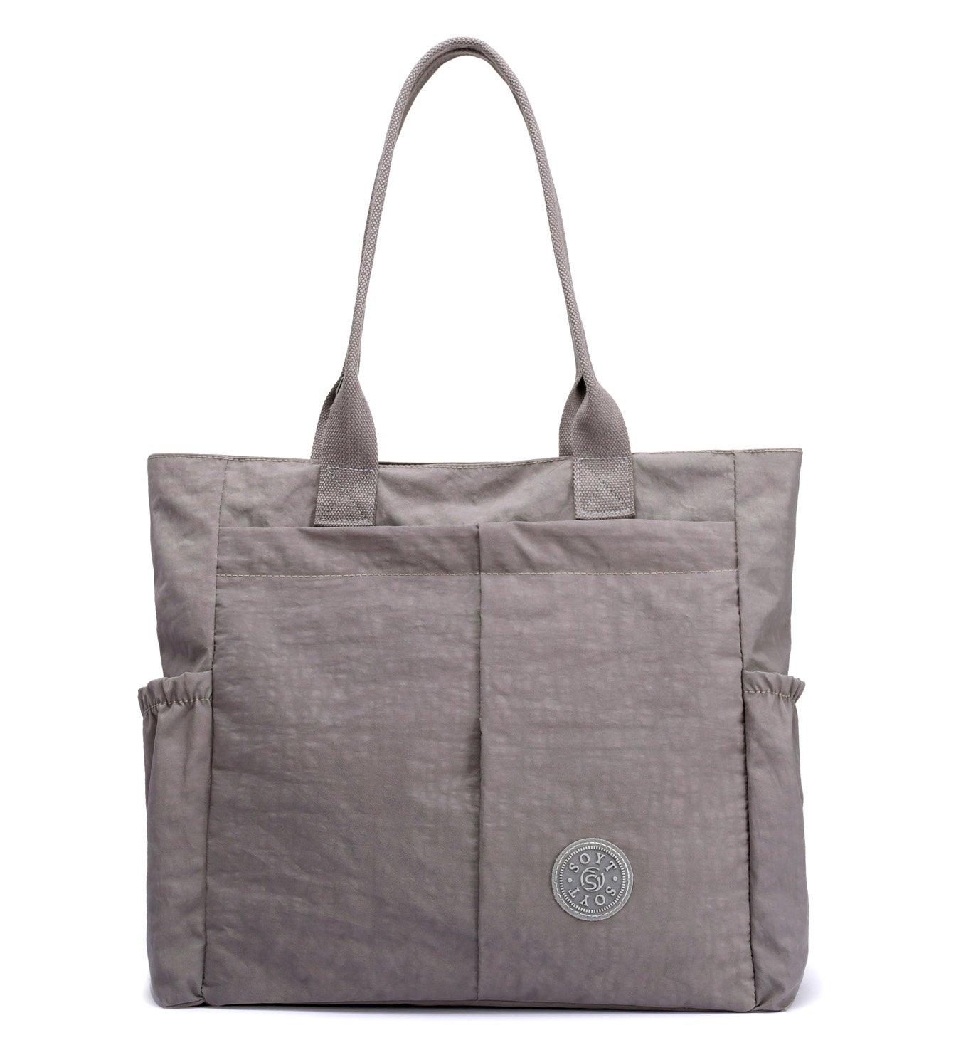 Nylon Water Resistant Multi Pockets Large Lightweight Tote Bag Shoulder Bag Waterproof Handbags (LightGray HB)