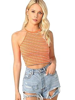 24bf1f91eab725 SweatyRocks Women s Sexy Summer Sleeveless Striped Backless Halter Crop Tops