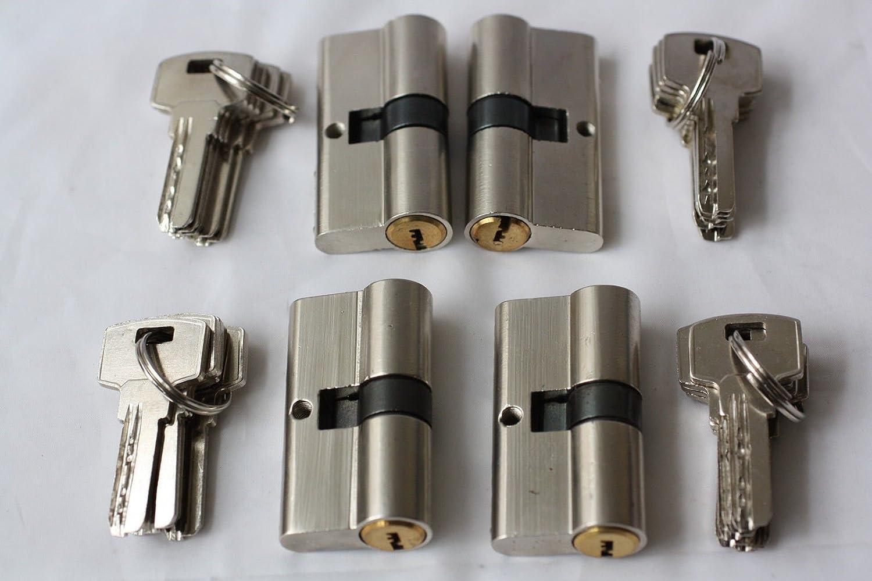 4er Set Schlie/ßzylinder Zylinderschloss Schloss T/ürzylinder 70mm POW46 35//35