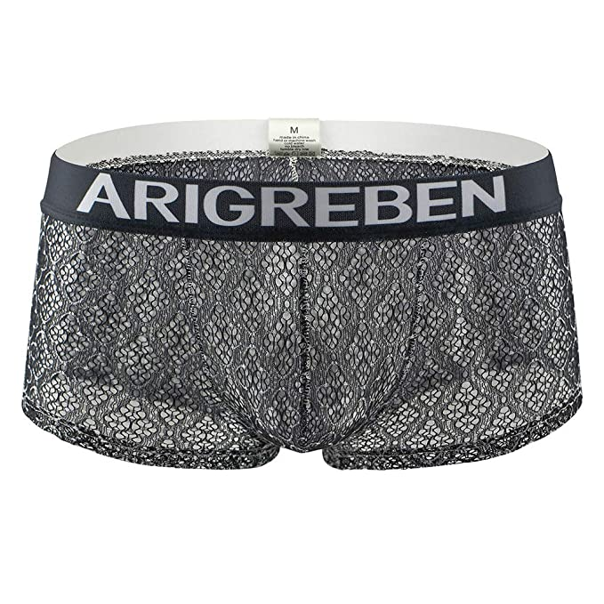 2fd03a6029ae Mens Underwear Breathable Lace Boxer Briefs Sexy Lingerie Low Rise Shorts  Soft Seamless Trunks See-Through Transparent Underpants: Amazon.co.uk:  Clothing