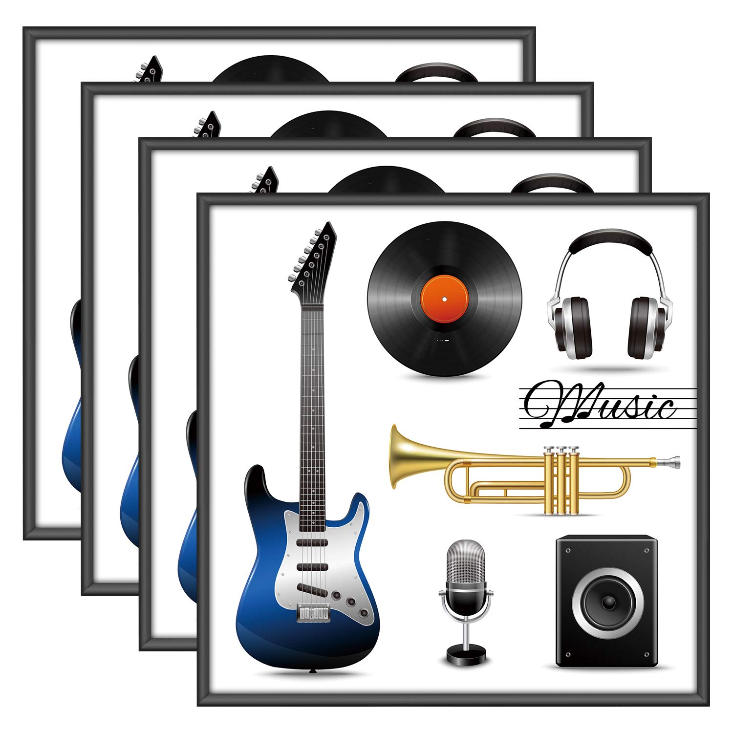 ONE WALL Album Frame for Vinyl Record, Displays 12.5x12.5 Album Covers, Aluminum Frame, Set of 4 - Wall Mounting Hardware Included