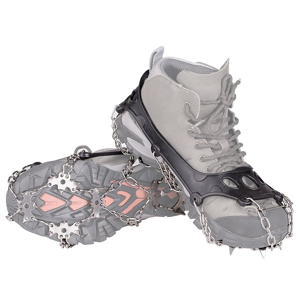 KUMFI Cleats 18 Teeth Anti-Slip Crampon, Ice Spikes, Grips, Stainless Steel Crampons for Snow /Ski Boots (M)