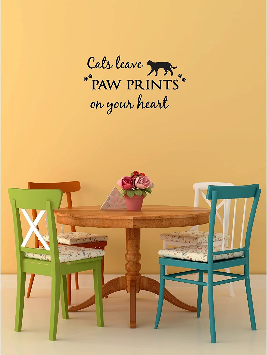 Amazon.com: Cats leave paw prints on your heart cute pet vinyl wall ...