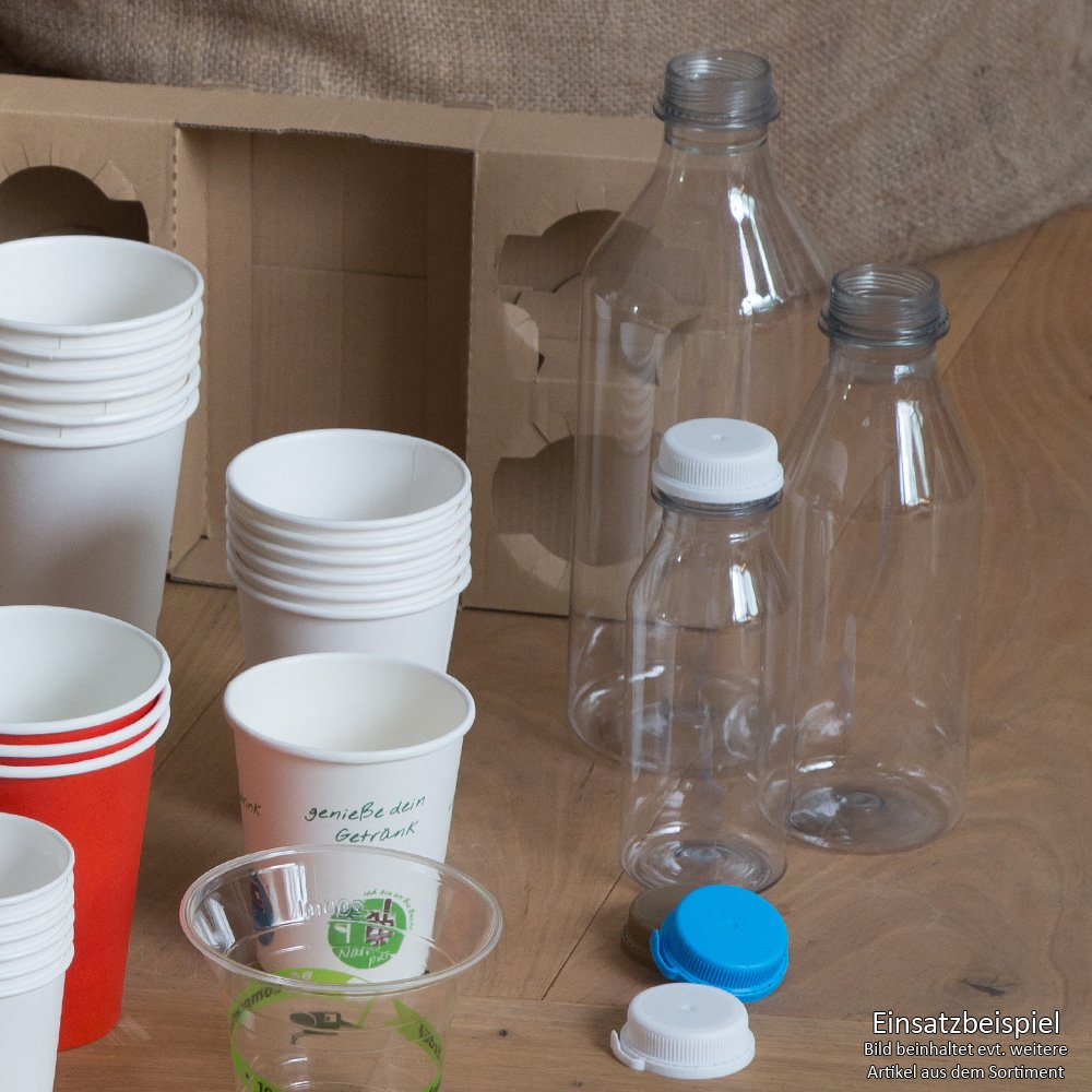 BIOZOYG 216x Botellas rellenables | 250ml | hasta 65°C | con 50% Pet Reciclado | de Botellas recicladas Pet | Totalmente reciclable | Transparentes | Menos ...