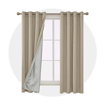 Deconovo Verdunkelungsvorhang Ösen Gardinen Schlafzimmer Vorhang Blickdicht  183x117 cm Beige 2er Set