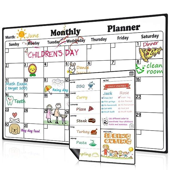 Homein Calendario Magnético para Nevera, Kit Pizarra Planificador ...