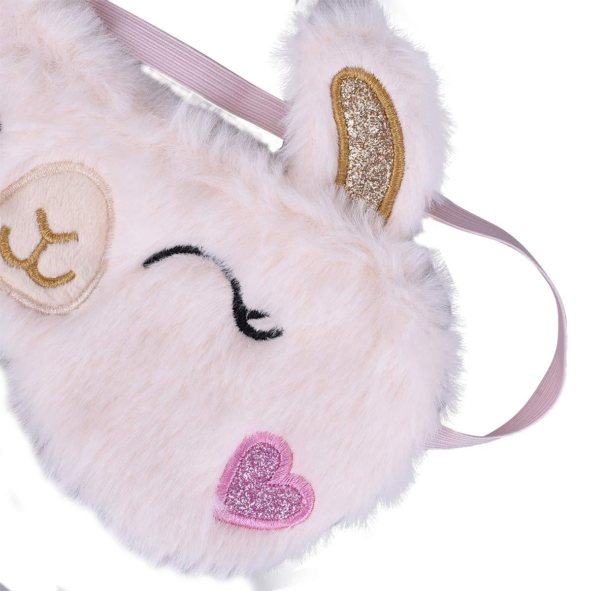 Ulife Mall 3D Peluche Masques de Sommeil Mignon Licorne Masque de Nuit Soie avec Bande /Élastique Masque pour les Yeux pour Dormir Bandeau yeux Couverture pour Femmes Filles Enfants Violet