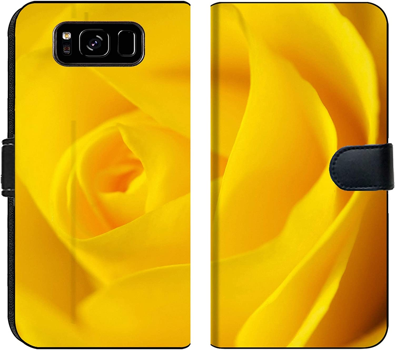 Amazon Com Samsung Galaxy S8 Flip Fabric Wallet Case Image Of Rose Nature Flower Yellow Fresh Floral Bloom Plant Beautiful Beauty Background Macro Gift Blossom Closeu