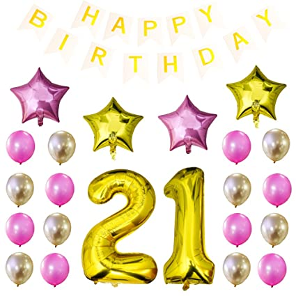 Amazon Turboom 34 Inch 21st Birthday Balloons 21 Number