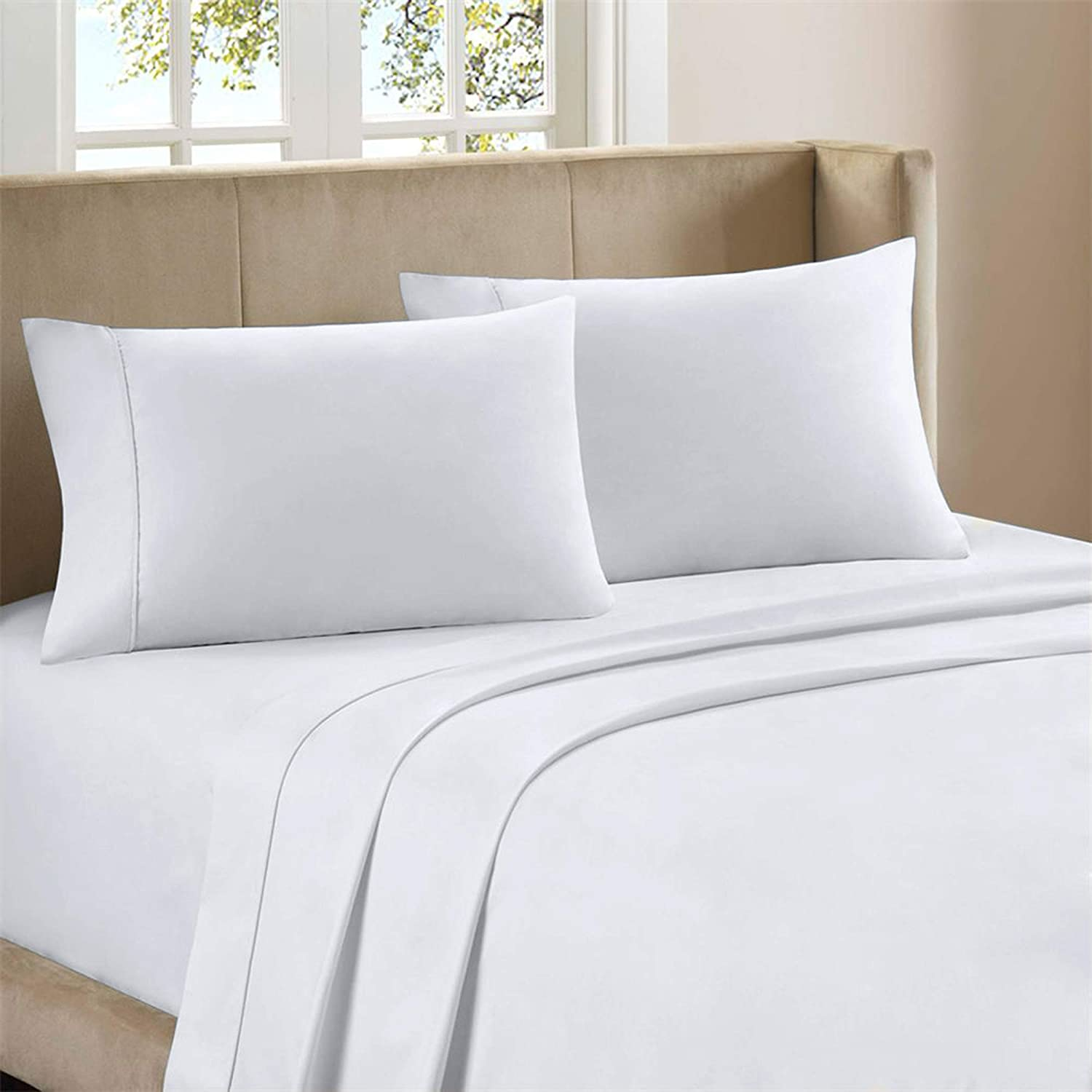 """Premium 400-Thread-Count 100% Cotton 4 Piece Ultimate Percale Bed Sheet Set, White King Sheets, Moisture Wicking, Soft Finish, Cool Crisp, Patented Fitted Sheet Fits Upto 18"""" Deep Pocket - Purity Home"""