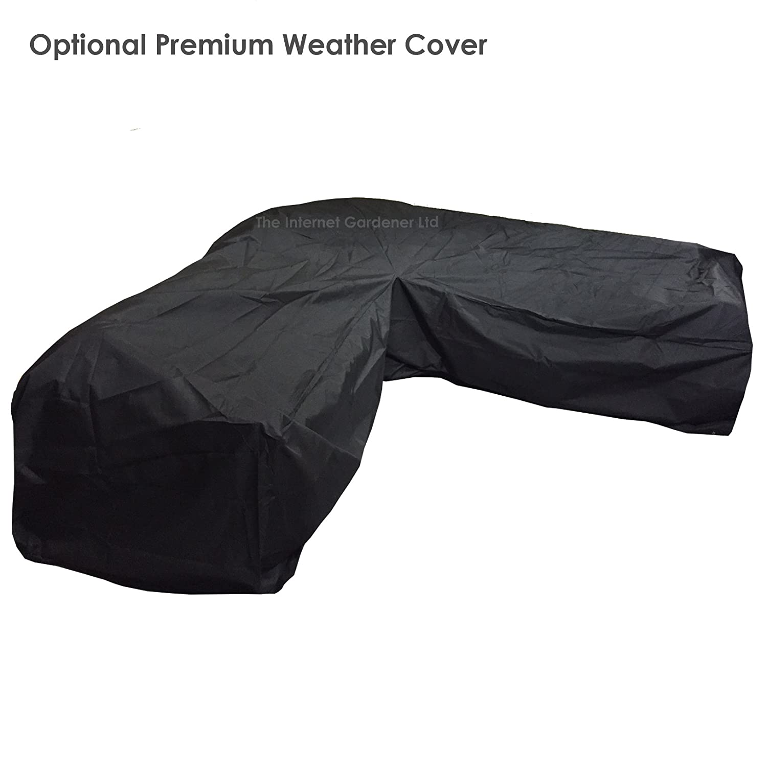 high quality black outdoor l shaped rattan corner sofa weather cover amazoncouk garden outdoors