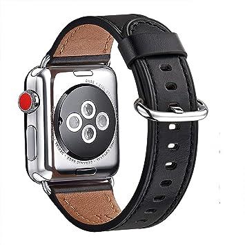 WFEAGL Correa para Correa Apple Watch 42mm 44mm 38mm 40mm, Correa de Repuesto de Cuero Multicolor para iWatch Serie 5/4/3/2/1(42mm 44mm,Negro/Plata): Amazon.es: Electrónica