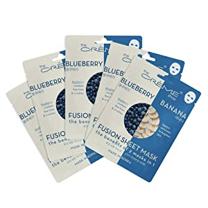 The Crème Shop Korean Skin care Beauty Full Facial Advanced Sheet Daily Natural Essence easy-to-use Soothing - Blueberry N Banana Fusion Sheet Mask 5 Piece Set