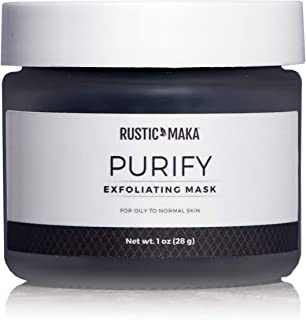 product image for Rustic MAKA PURIFY Exfoliating Mask: Detoxify + Nourish + Smooth with Activated Charcoal, Mineral-Rich Clay & Botanical Extracts - For Acne-Prone, Oily Skin