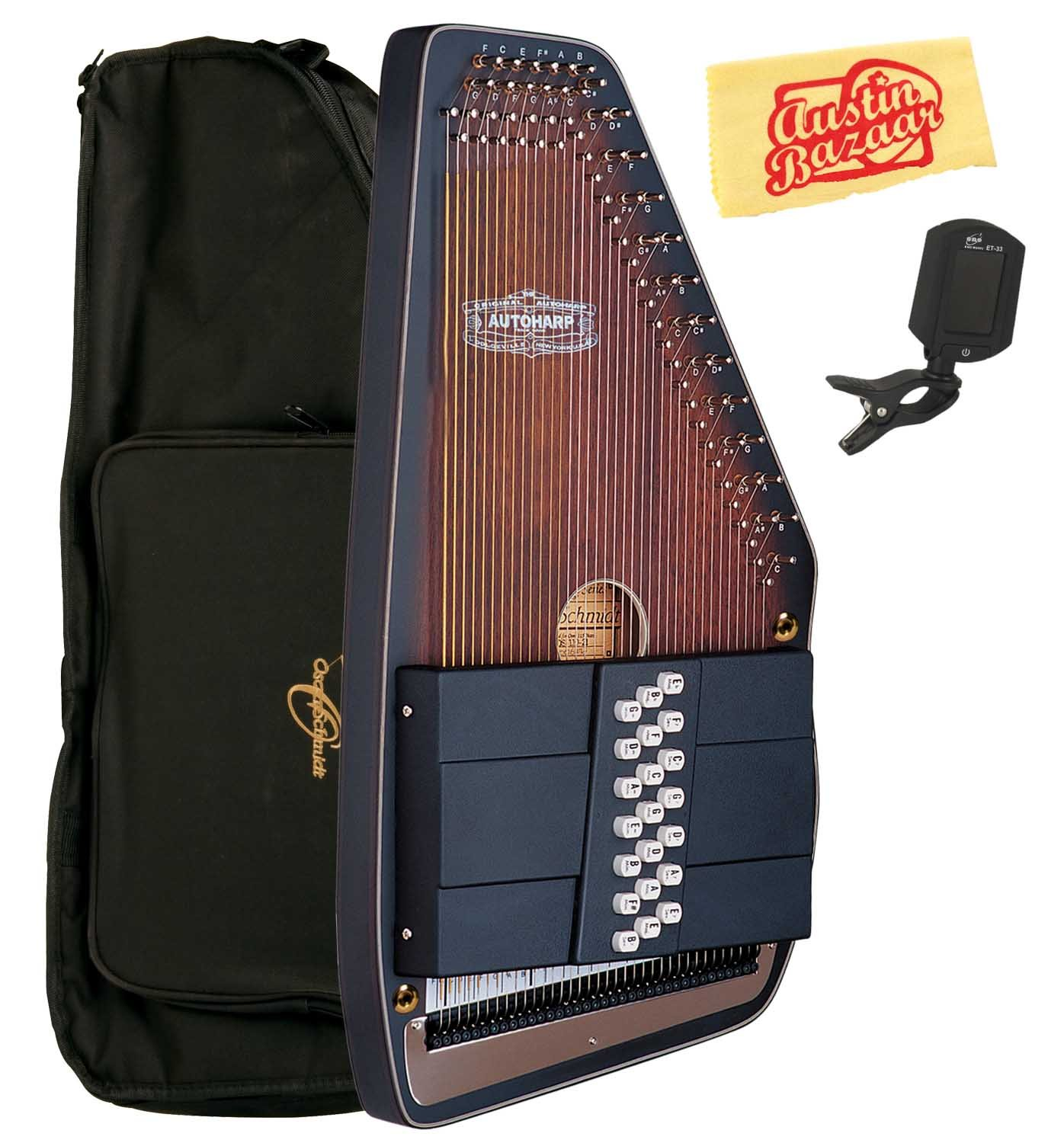 Oscar Schmidt OS110-21AE 21 Chord The Americana Autoharp with Fine Tuning System and Passive Pickup Bundle with Gig Bag, Tuner, and Polishing Cloth