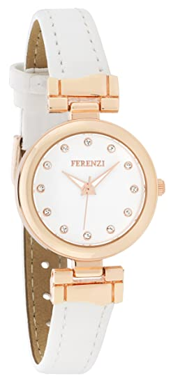 Ferenzi Mujer | Reloj de cuero blanco moderno del Faux de la tono de Rose | FZ18001: Amazon.es: Relojes