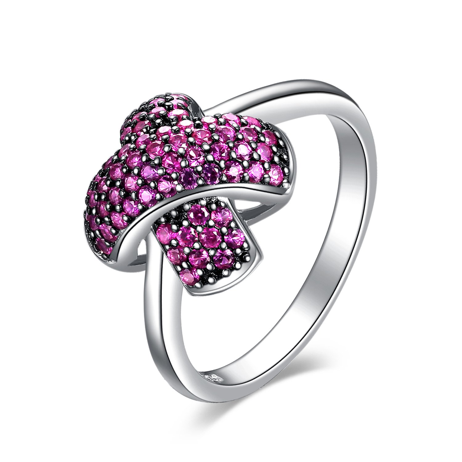 """JewelryPalace """"X"""" Mark 0.6ct Created Ruby Pave Promise Ring 925 Sterling Silver EU-AR409462"""