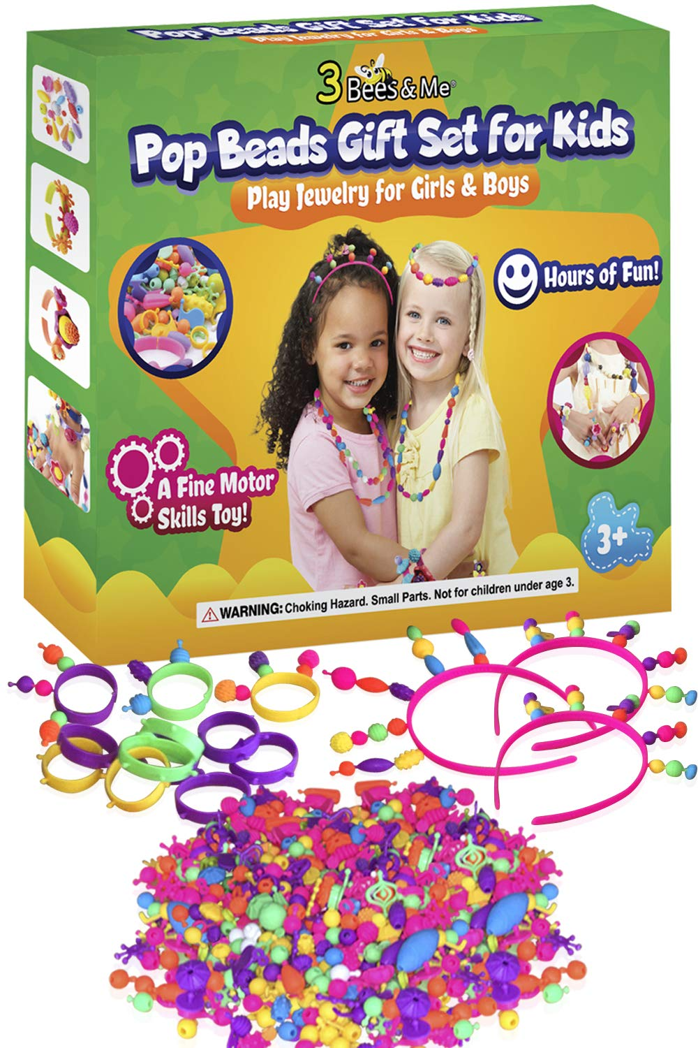 3 Bees & Me Pop Beads for Girls & Kids Age 3 4 5 6 7 8 - Fun Jewelry Making Kit, 500 Snap Beads Set by 3 Bees & Me