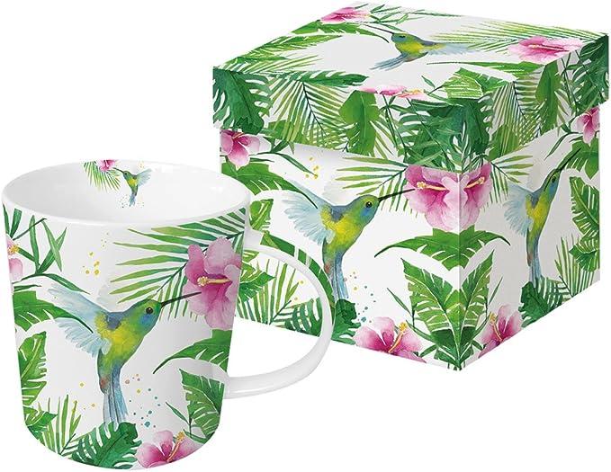 PPD Juego de Taza Grande Cafe Desayuno con Caja Regalo Colibri Tropical 0,35l.: Amazon.es: Hogar