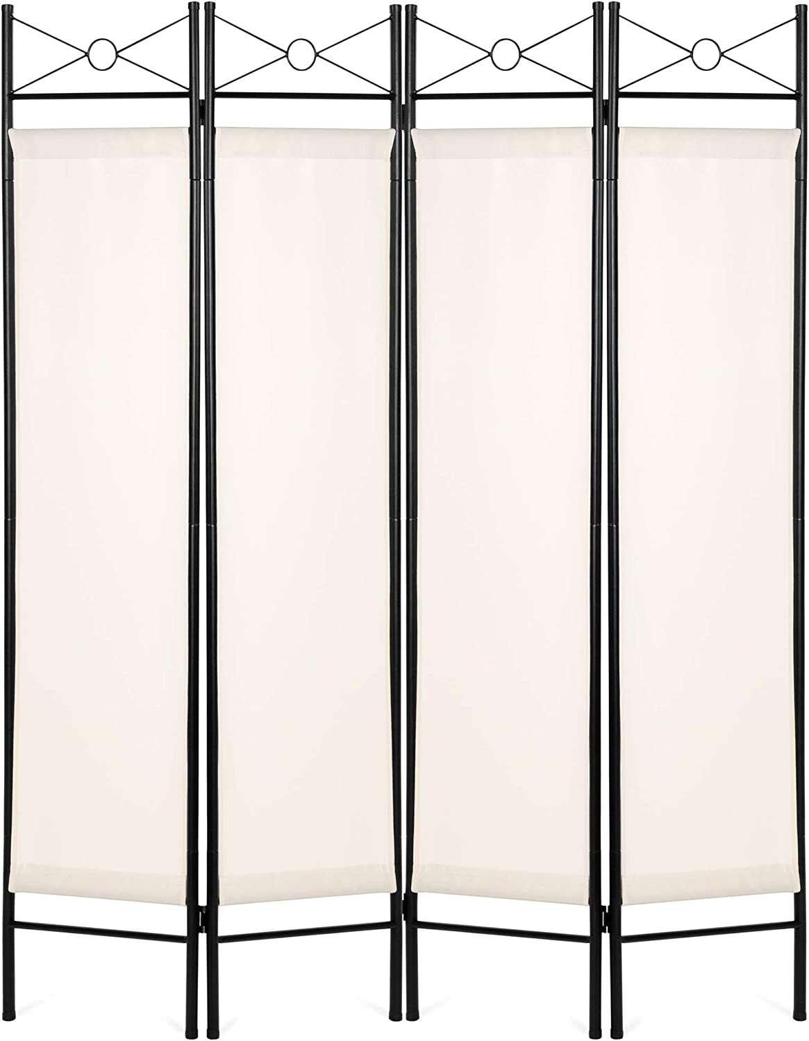 Best Choice Products 6ft 4-Panel Folding Privacy Screen Room Divider Multipurpose Decoration Accent for Living Room, Bedroom, Bathroom, Office, Salon, Shade w/Steel Frame, Lightweight Design - White