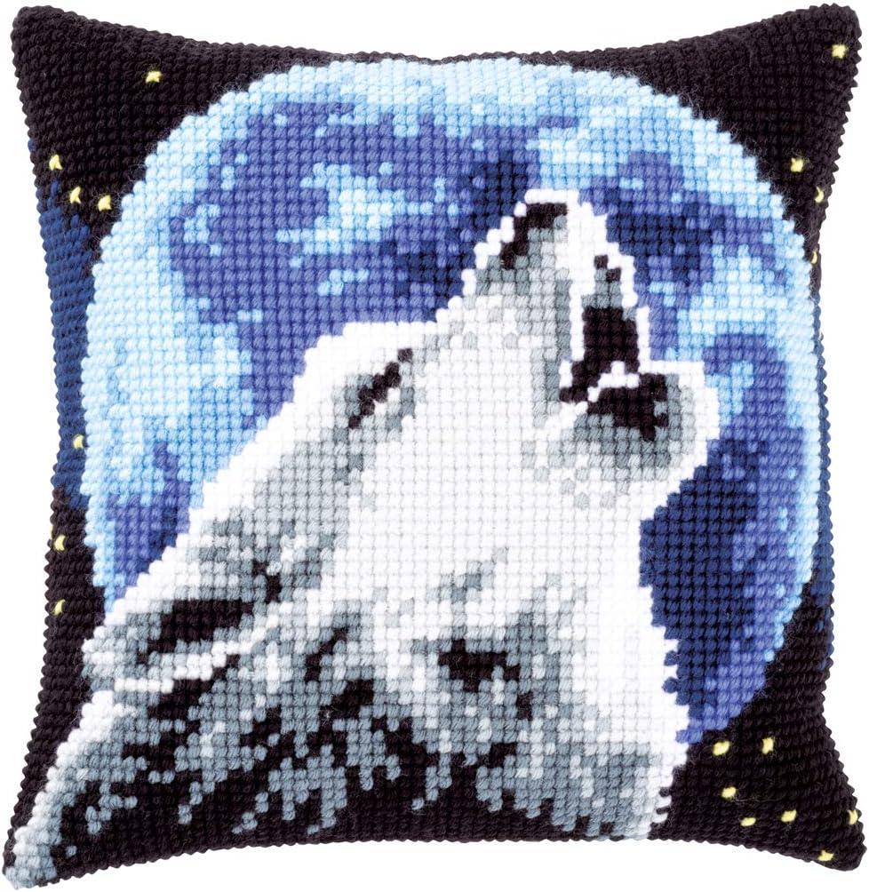 Vervaco PN-0171818 Wolf Coussin pr/é-imprim/é en coton Multicolore 40 x 40 cm