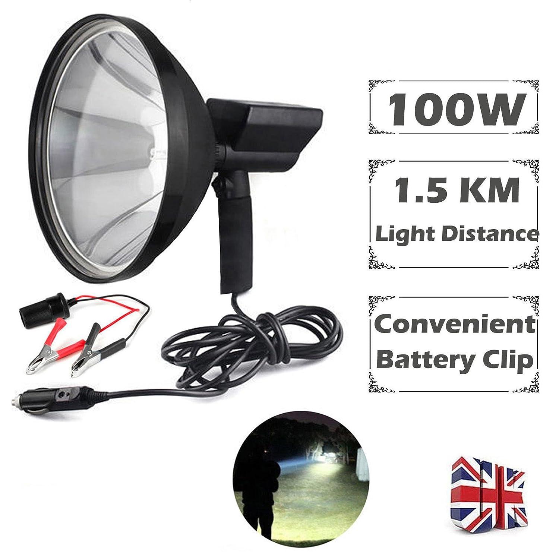 Caza Camping Spotlight Searchlight xen/ón HID de mano conversi/ón abrazaderas 9/pulgadas 100/W super brillante 1/Mile bater/ía de larga distancia