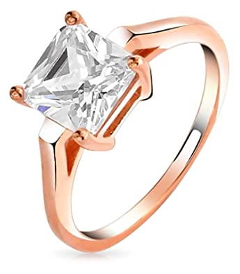 e9ba0d1f7579d7 Bling Jewelry Rose Gold Plated Silver Square CZ Solitaire Engagement Ring ,5