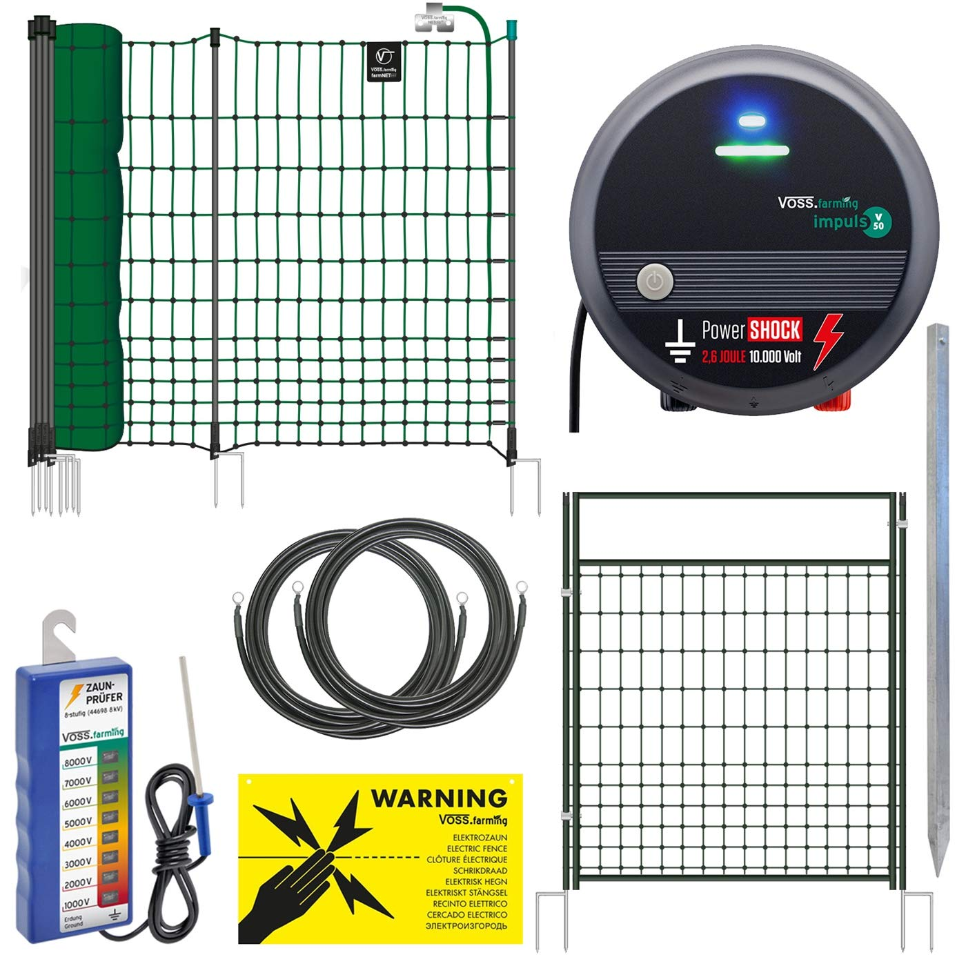 Tester Guy Ropes 230V Mains Energiser VOSS.farming 50m Premium Poultry Electric Fence Kit incl farmNET Netting 2.6 J Anti-Fox Can be Extended to 300m Sign 10,000 V Gate