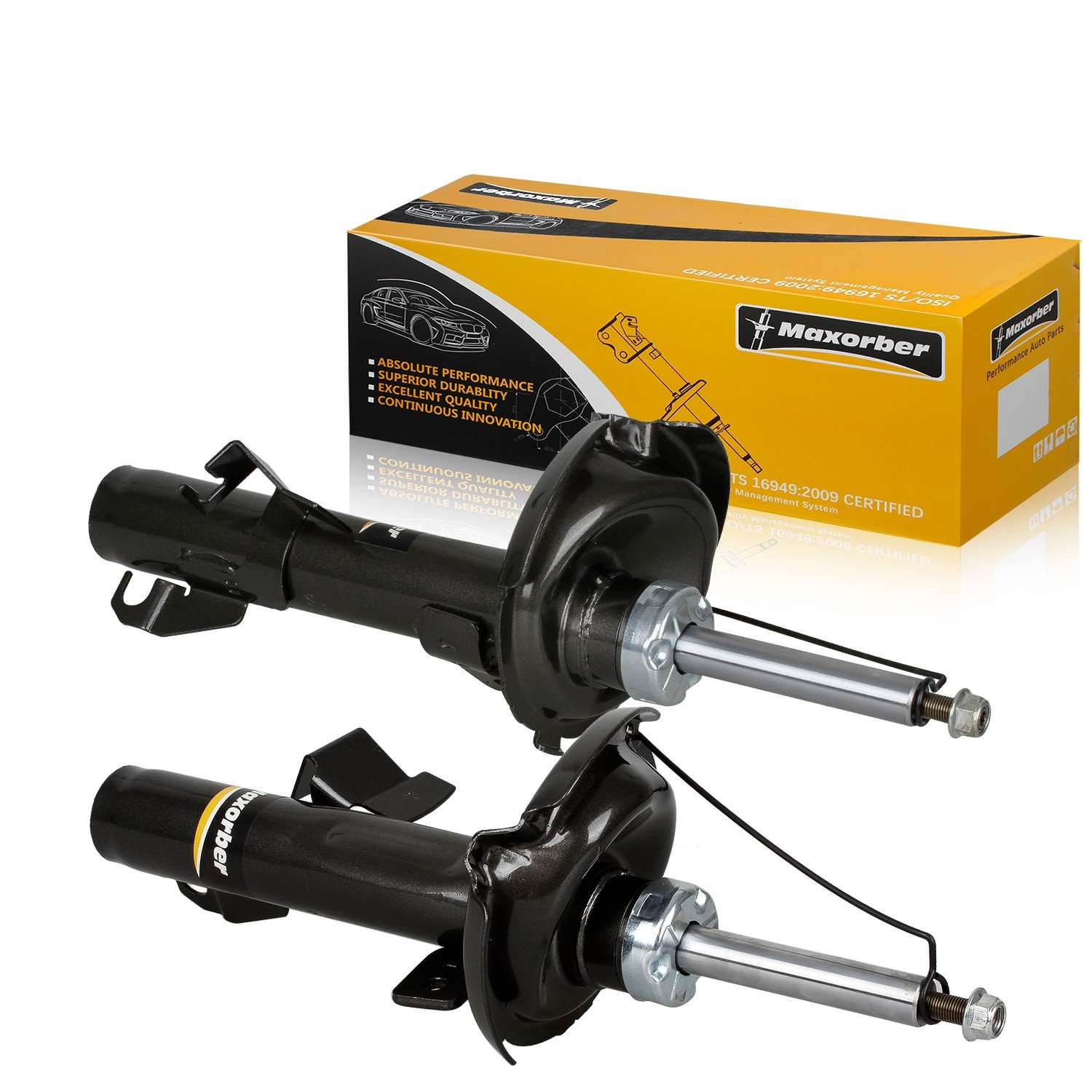 Maxorber Shocks Struts Absorber Front Set Compatible with Volvo C30 2008-2012 Replacement for Volvo S40 V50 04-11 Replacement for Volvo C70 06-13 Shock Absorber 334843 334842 1914842 1914843