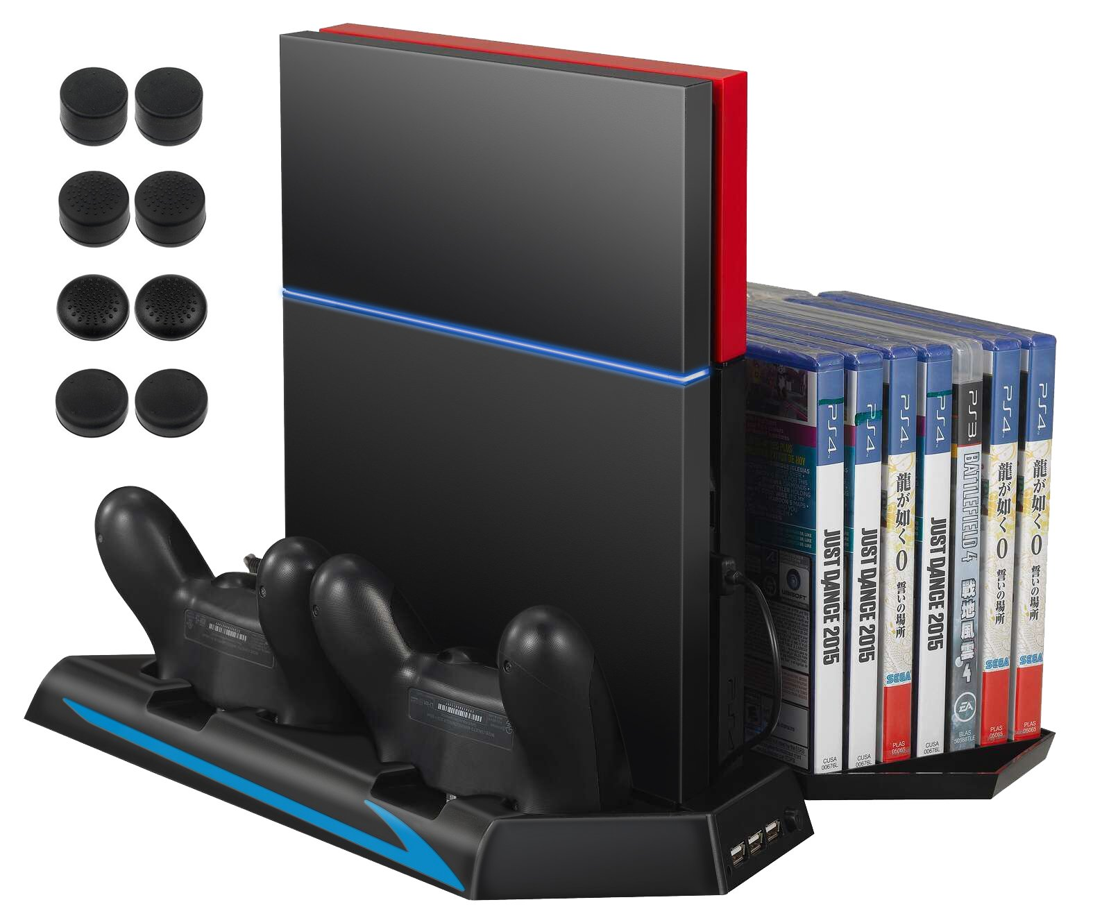 AMIR PS4 Vertical Stand Cooling Fan, Cooler Charging Station with 2 Controller Charging Port + 14 Game Disc Storage + 3 HUB Ports + 8 Controller Thump Grips ( Not for Pro or Slim) by AMIR